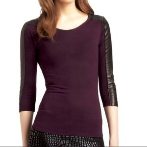 [Aiko] 3/4 Leather Sleeves plum Top